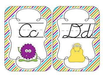 Little Monsters Alphabet Cards: D'Nealian Cursive Set