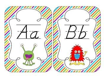Little Monsters Alphabet Cards: D'Nealian Version