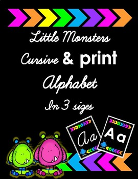 Little Monsters Black and Bright - Cursive and Print Alphabet - In 3 Sizes
