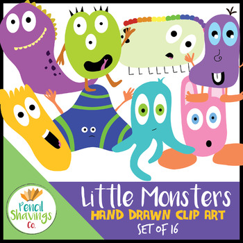 Little Monsters Clip Art | Set of 16 Cute Hand Drawn Monsters!
