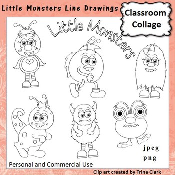 Little Monsters Clip Art b/w line drawings   personal & commercial use