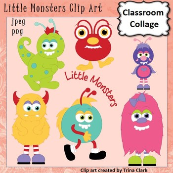 Little Monsters Clip Art Color   personal & commercial use