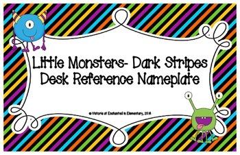 Little Monsters- Dark Stripes Desk Reference Nameplates