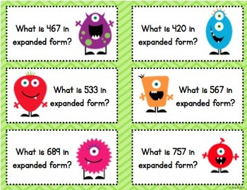 Little Monsters Expanded Form Math Center