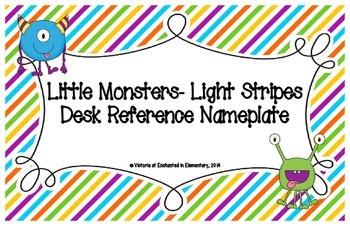 Little Monsters- Light Stripes Desk Reference Nameplates