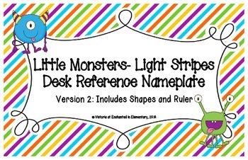 Little Monsters- Light Stripes Desk Reference Nameplates Version 2