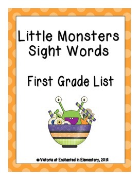 Little Monsters Sight Words! First Grade Dolch List