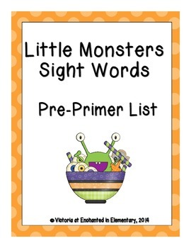 Little Monsters Sight Words! Pre-Primer Dolch List Pack