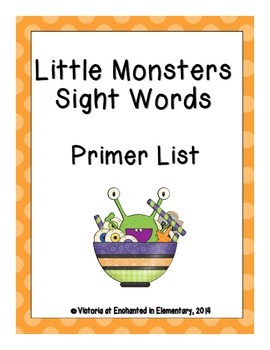 Little Monsters Sight Words! Primer Dolch List Pack