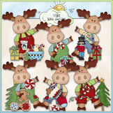Little Moose Christmas Wishes Clip Art - CU Colored Clip Art