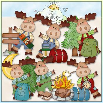Little Moose Goes Camping Clip Art - CU Colored Clip Art