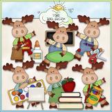 Little Moose Goes To School Clip Art - CU Colored Clip Art