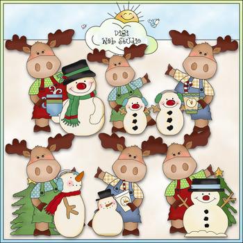 Little Moose Let It Snow Clip Art - CU Colored Clip Art