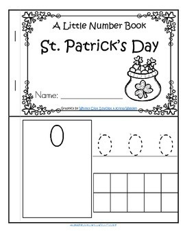 St. Patrick's Day Little Number Book - Countung, Tracing, Recognition