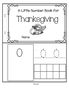Thanksgiving Little Number Book 0-10 - Counting, Tracing, Recognition