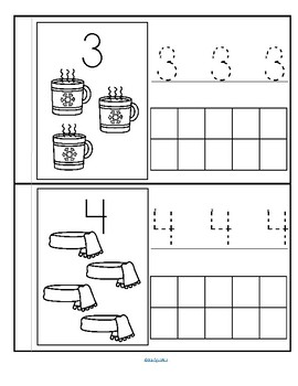 WINTER Little Number Book - Counting, Tracing, Recognition