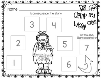 Little Old Lady Not Afraid Of Anything Retelling & Sequencing Pack