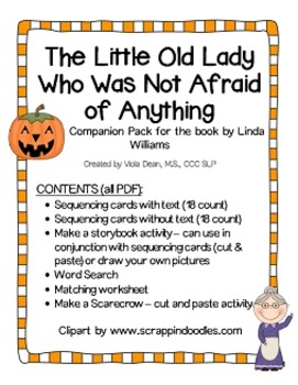 """The Little Old Lady Who Was Not Afraid Of Anything"" Companion Pack / Sequencing"