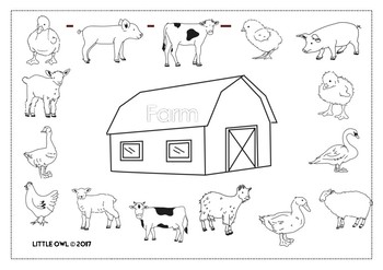 Little Owl Farm Animals Colouring Book By Little Owl Resources Tpt