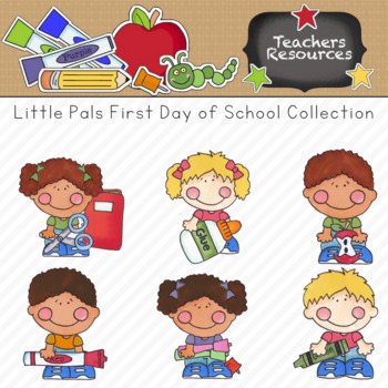 Little Pals First Day of School Clipart Collection || Commercial Use Allowed