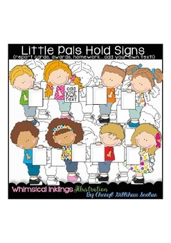 Little Pals Hold Signs Clipart Collection