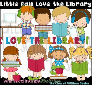 Little Pals Love the Library Clipart Collection