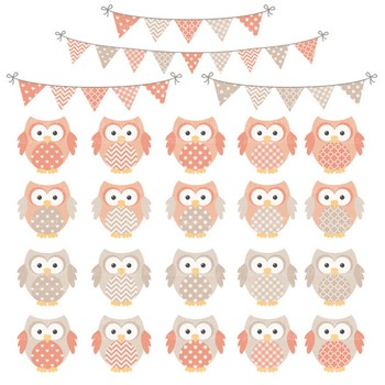 Antique Peach Owl Vectors & Papers - Baby Owl Clipart, Owl Clip Art, Baby Owls