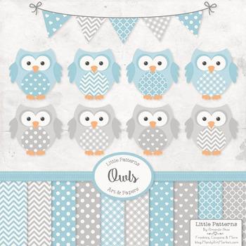 Blue & Grey Owl Vectors & Papers - Baby Owl Clipart, Owl C