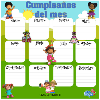 Little People Month's Birthdays (Bilingual)17x17