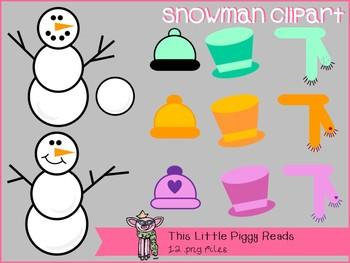 Little Piggy's Dress-Up a Snowman Clipart