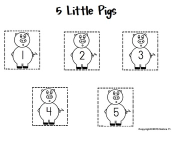 Little Pigs Numbers in Order subitize subitizing  Family Theme