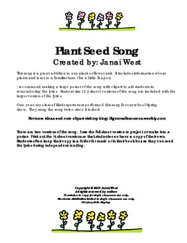 Little Plant Seed Science Song