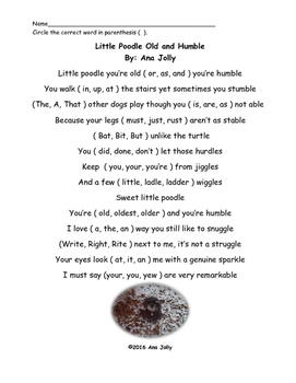 Poem: Little Poodle Old and Humble