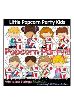 Little Popcorn Party Kids Clipart Collection