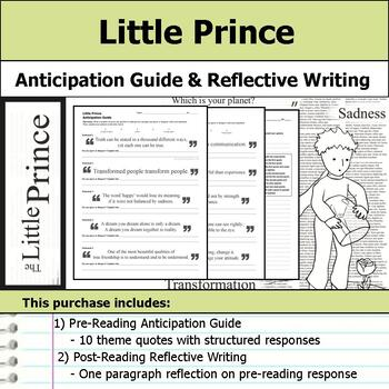 Little Prince - Anticipation Guide & Reflection Writing
