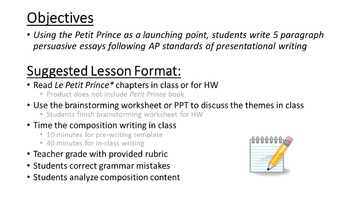 Le Petit Prince CH 1-3 French Writing Prompt (Les Dessins)