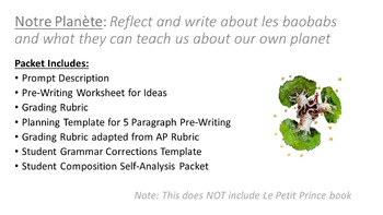 Le Petit Prince CH 4-7 French Writing Prompt (Notre Planete)
