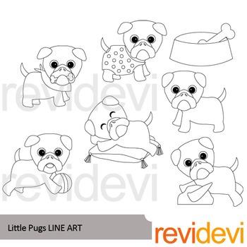 Little Pugs line art - clip art blackline