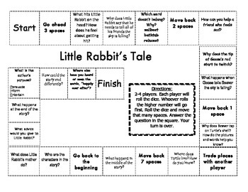 """Little Rabbit's Tale"" Comprehension Game Board- Journeys story 1st grade"