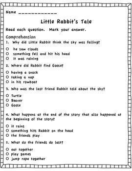 Little Rabbit's Tale Journeys Assessment