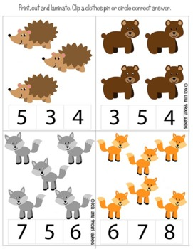 Little Raccoon Counting Clip cards (Numbers 1-20)