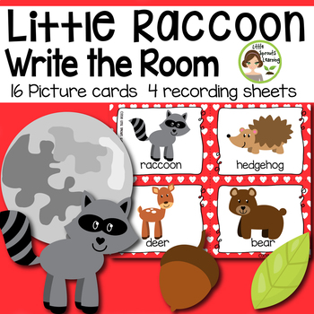 Little Raccoon Write the Room - 16 cards four versions, four recording sheets