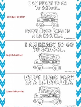 Little Reader Booklet- I am Ready to Go to School- English, Spanish, & Bilingual