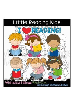 Little Reading Kids Clipart Collection