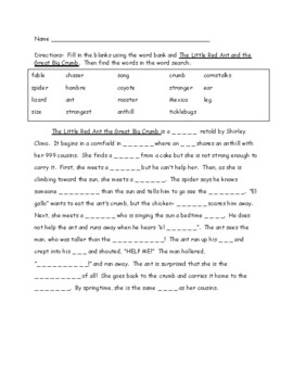 Little Red Ant and the Great Big Crumb cloze and word search