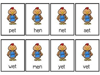 Little Red Hen CVC Word Card Game