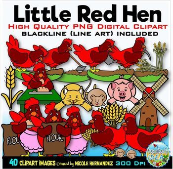 Little Red Hen Clip Art for Personal and Commercial Use