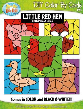 Little Red Hen Color By Code Clipart {Zip-A-Dee-Doo-Dah Designs}