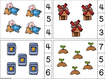 Little Red Hen Count and Clip Cards