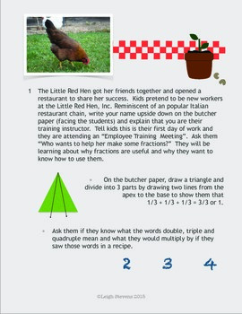 Little Red Hen Fractions and Multiples Cooking Lesson